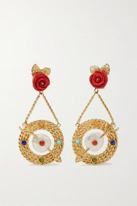 Of Rare Origin - Bull's-eye Gold Vermeil Multi-stone Earrings - one size
