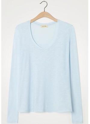 American Vintage Jacksonville Long Sleeve Blue T Shirt - X Small