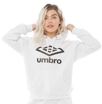 Umbro Womens Active Style Large Logo Hoodie White/Black
