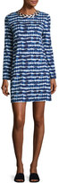 Tory Burch Hollie Long-Sleeve Tie-Dye Tee Dress, Blue/White