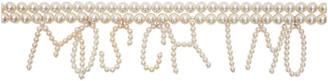 Moschino White Pearl Logo Belt