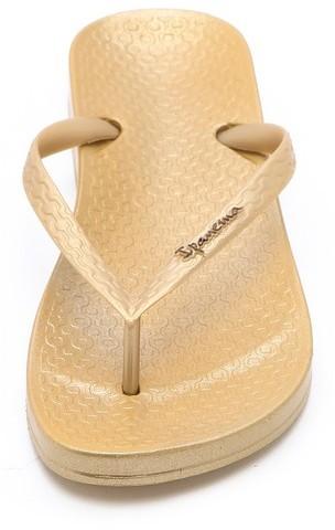 Ipanema Ana Tan Metallic Footbed Flip Flops