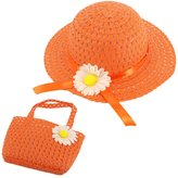 Multifit Cute Girls Sunhat Straw Hat Tea Party Hat Set with Purse