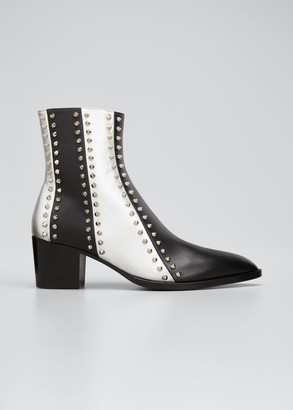 Christian Louboutin Men's With My Guitar Spike Two-Tone Striped Boots