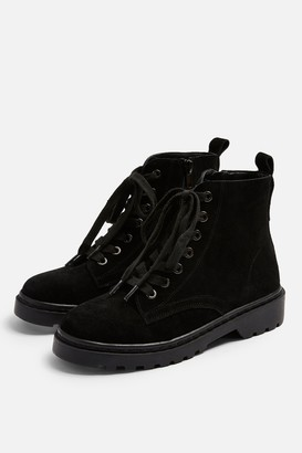 Topshop Womens **Wide Fit Bumble Leather Lace Up Boots - Black