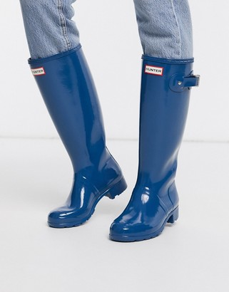 Hunter tall wellie boots-Navy