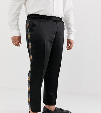 ASOS EDITION Plus skinny suit pants in grey and gold sequins