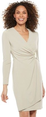 Chaps Women's Gathered Side Faux-Wrap Dress with Hardware