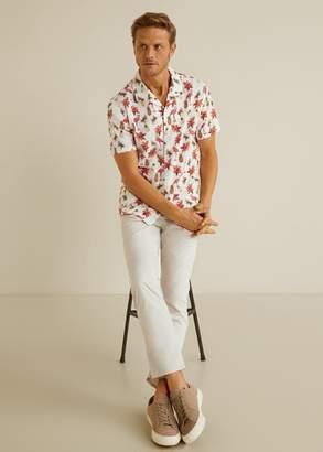 MANGO MAN - Hawaiian print shirt white - L - Men