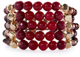 Nakamol Multi-Strand Beaded Cuff Bracelet, Garnet/Pearl Mix