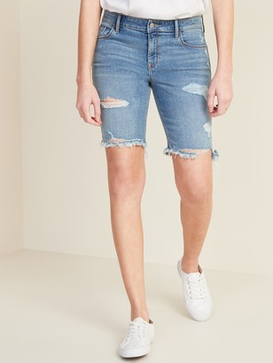 Old Navy Mid-Rise Distressed Jean Bermuda Shorts for Women - 9-inch inseam