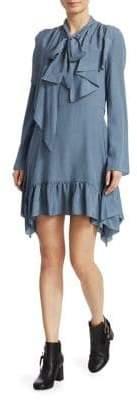 See by Chloe Crepe Tie Neck Mini Dress
