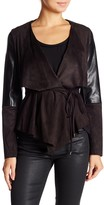 Laundry by Shelli Segal Faux Suede & Leather Belted Jacket