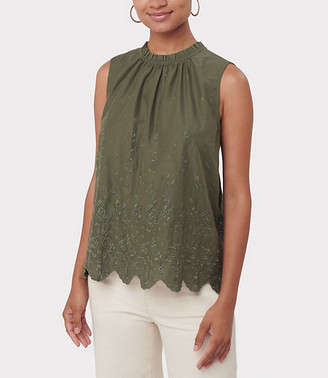 LOFT Scalloped Eyelet Shell