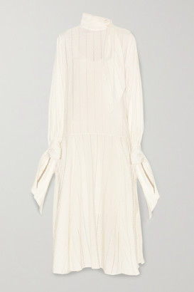 By Malene Birger Bellida Tie-detailed Pointelle-trimmed Cotton-blend Jacquard Midi Dress - Cream