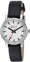 Mondaine evo2 petite 26mm sapphire Watch with St. Steel polished Case white Dial and black leather Strap MSE.26110.LB
