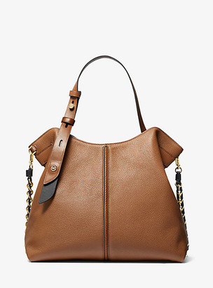 MICHAEL Michael Kors MK Downtown Astor Large Pebbled Leather Shoulder Bag - Luggage Brown - Michael Kors