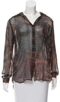 L'Agence Silk Button-Up Top