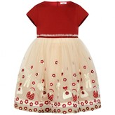 MonnaLisa MonnalisaBaby Girls Red Embroidered Tulle Dress