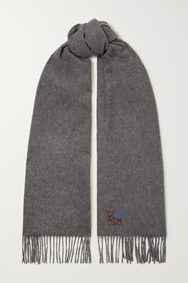 Loewe Fringed Embroidered Melange Cashmere Scarf - Gray
