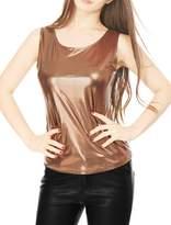 Allegra K Woman U Neck Stretch Slim Fit Metallic Tank Top M