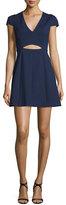 Halston Cap-Sleeve Cutout Dress, Midnight