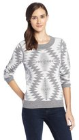 Pendleton Women's Reversible Coos Bay Pullover Sweater, Soft Grey Heather/Ivory Multi, Small