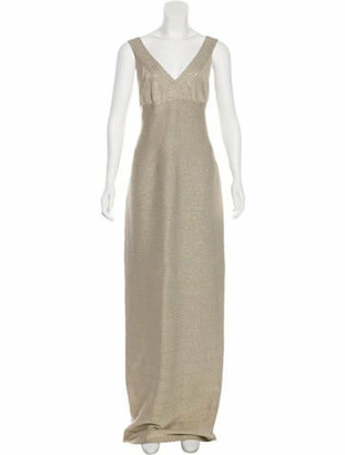 Carmen Marc Valvo Sleeveless Bandage Dress Gold