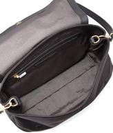 Elizabeth and James Lizard-Embossed Leather Messenger Bag, Black
