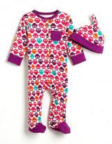 Offspring Newborn Girls 0-9 Months Cotton Owl Footie & Hat Set