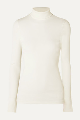 Gold Sign The Rib Stretch Cotton-blend Turtleneck Top - White