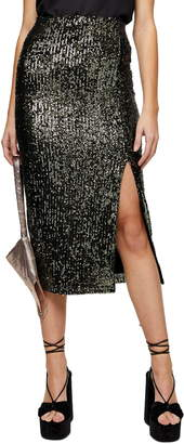 Topshop Slit Sequin Midi Skirt