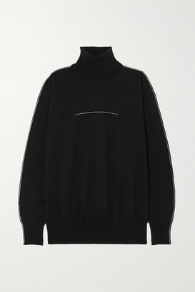 MM6 MAISON MARGIELA Embroidered Cotton And Cashmere-blend Turtleneck Sweater - Black