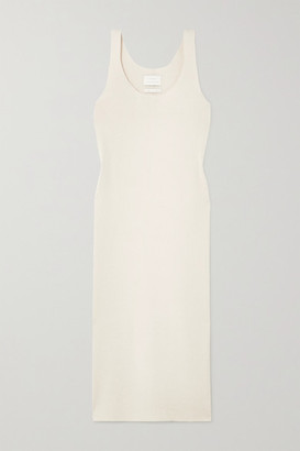 LAUREN MANOOGIAN Ribbed Organic Cotton And Alpaca-blend Midi Dress - White