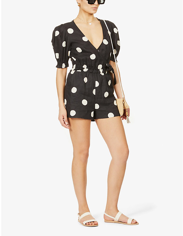 Thumbnail for your product : Peony Swimwear Polka-dot cropped linen top
