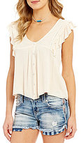 Miss Me Flutter-Sleeve V-Neck Lattice Back Top
