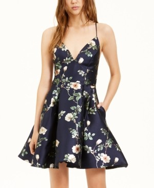 B. Darlin Juniors' Floral-Print A-Line Dress