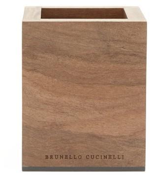 Brunello Cucinelli Walnut Wood Pen Holder - Brown