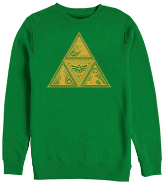 Fifth Sun Pullover Sweaters KELLY - Legend of Zelda Kelly Green Triforce Silhouette Crewneck Sweater - Adult