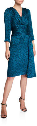 Rickie Freeman For Teri Jon V-Neck 3/4-Sleeve Burnout Sarong Draped Skirt Dress