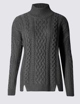Marks and Spencer Cable Knit Funnel Neck Jumper