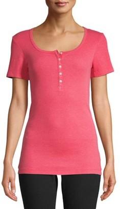Time and Tru Women's Short Sleeve Henley Rib T-Shirt