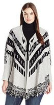 NY Collection Women's Long-Sleeve Tie Front Jacquard Fringe Cardigan Sweater