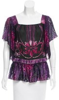 Anna Sui Printed Short Sleeve Blouse