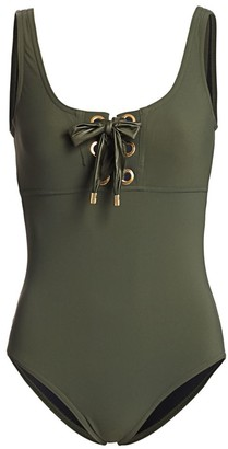 Karla Colletto Swim Maritta Lace-Up One-Piece Swimsuit