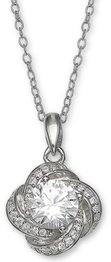 """Giani Bernini Cubic Zirconia Love Knot Pendant Necklace, 18"""" + 2"""" extender, Created for Macy's"""