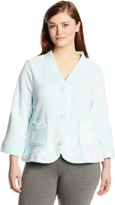 Casual Moments Women's Plus-Size Bed Jacket with Velcro Closings