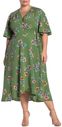 Bobeau Orna Floral Wrap Dress (Plus Size)