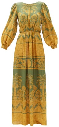 Johanna Ortiz Gift Of The Nile Palm Tree-print Silk Dress - Green Multi