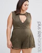 Boohoo Plus Sleeveless Lace Wrap Romper